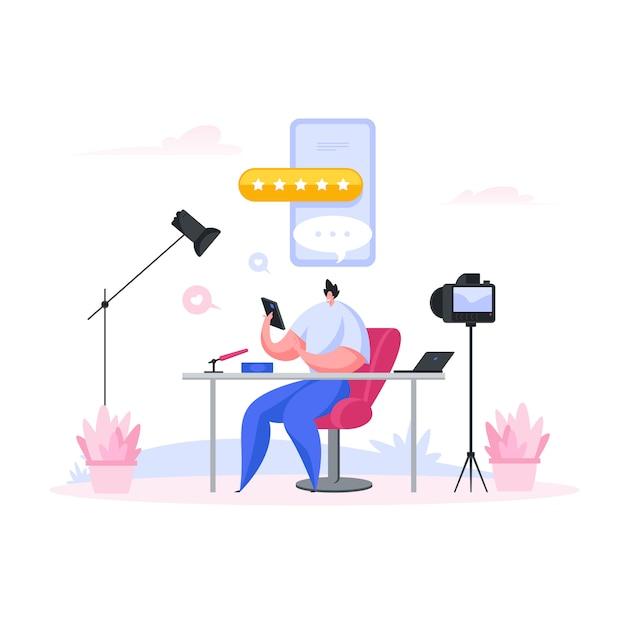 Мужской блогер, обзор устройств и приложений. мультфильм люди иллюстрация Premium векторы