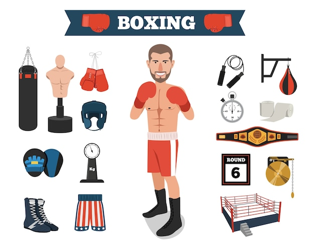 Male boxer with boxing equipment tools Premium Vector
