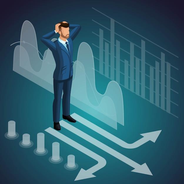 岐路に立っている男性ビジネスマン、瞑想、思考、男の考え、高価なスーツ、ブレーンストーミング。図 Premiumベクター
