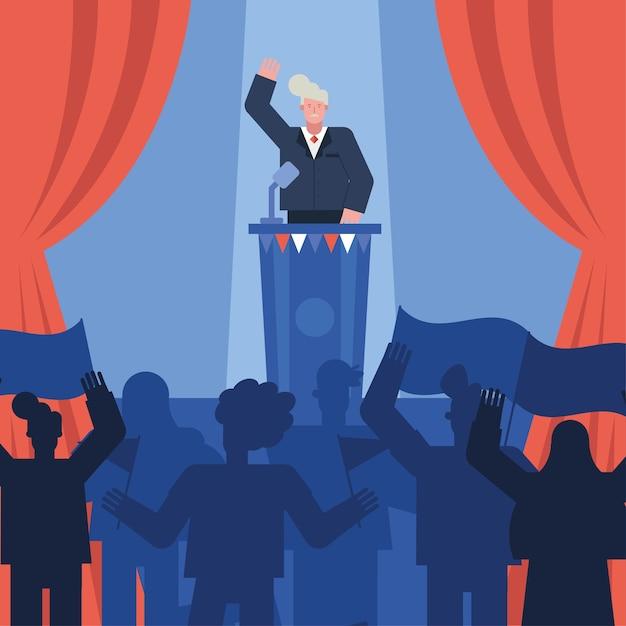 スピーチ選挙日ベクトルイラストデザインを与える男性候補者 Premiumベクター