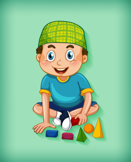 Male  cartoon character on colour gradient background Free Vector