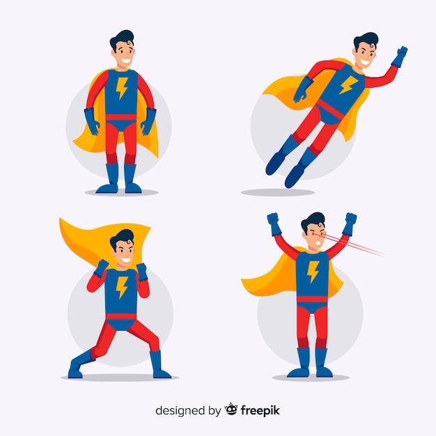 Male cartoon superhero collection Free Vector