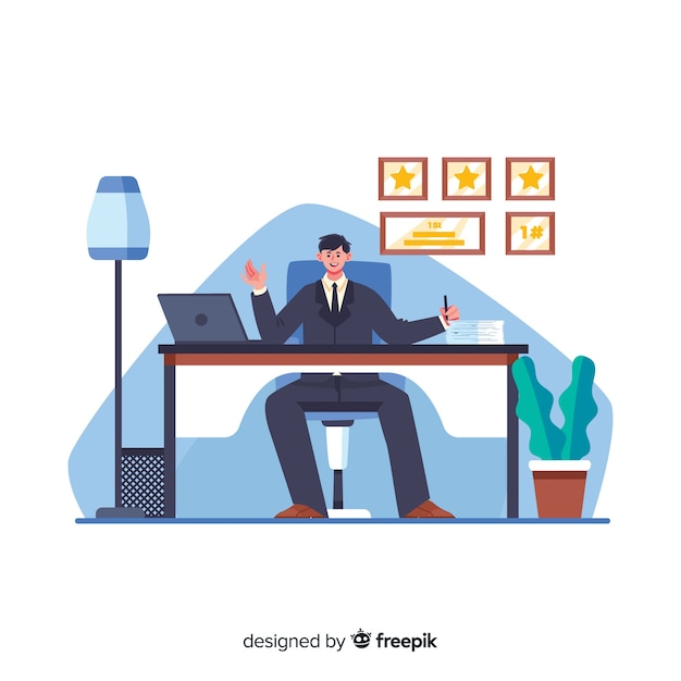 Male cartoon worker sitting at desk Free Vector