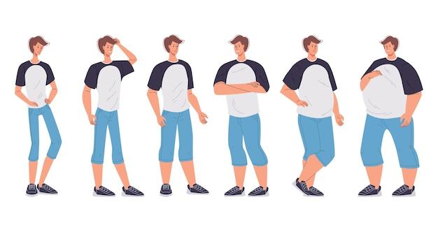 Изменение фигуры мужского персонажа от худого до слишком большого, очень болезненного ожирения. Premium векторы