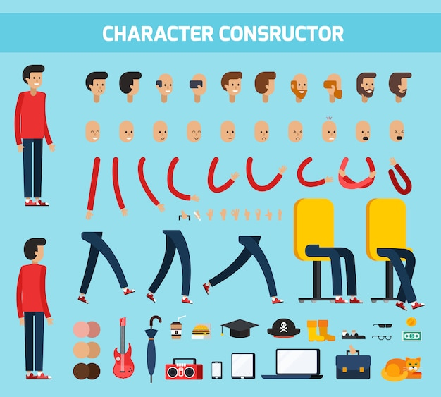 Male character constructor flat composition Free Vector