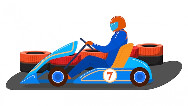 Male character driver karting transport vehicle, competition racing machine isolated on white, cartoon illustration. Premium Vector