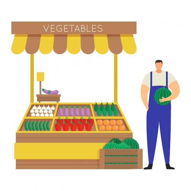 男性キャラクターの農家は、自家栽培の野菜、コンセプトストリートマーケットを販売し、白の図の屋台。男はスイカを握る。 Premiumベクター