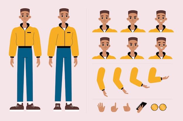 男性キャラクターのポーズイラストセット 無料ベクター