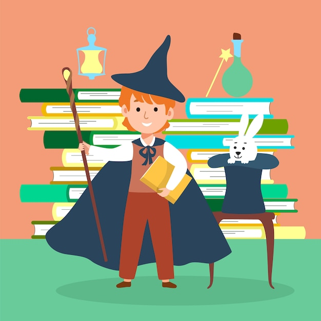 Male character wizard kid school magic time   illustration. miracle stuff compositions concept book stack, sorcery hat rabbit. Premium Vector
