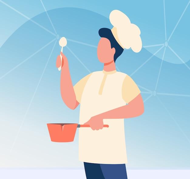 調理器具を身に着けている調理器具の男性シェフ。スプーンと鍋フラットベクトル図を保持している制服を着た男。料理教室、仕事、ブログ 無料ベクター