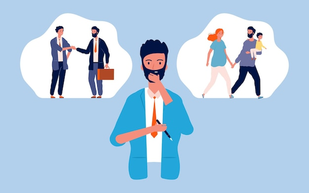 Male choice. family or career, pensive man. guy thinking about future. parenthood or business  illustration. Premium Vector