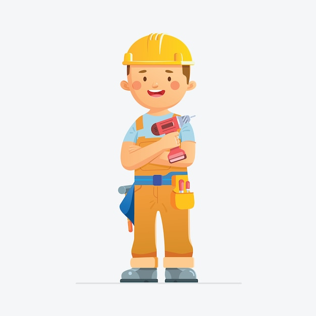 Male construction worker Premium Vector