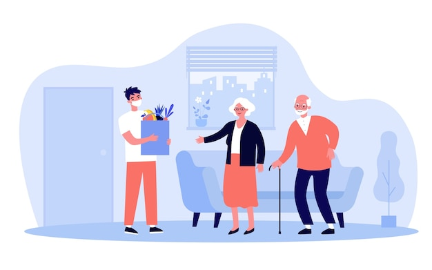 Male courier wearing mask delivering parcel with products to senior people home. old couple ordering food from supermarket.  illustration for virus, epidemic, lockdown concept Premium Vector