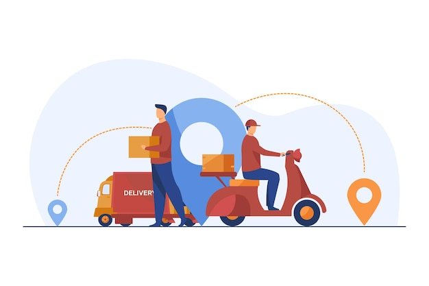 Male couriers delivering parcels Free Vector