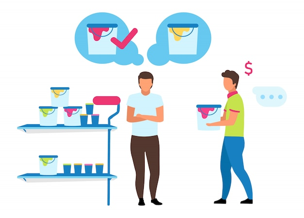 Male customer choosing paint   illustration. shop assistant helping buyer making purchases in hardware store cartoon characters. house renovation and reconstruction. apartment wall painting Premium Vector