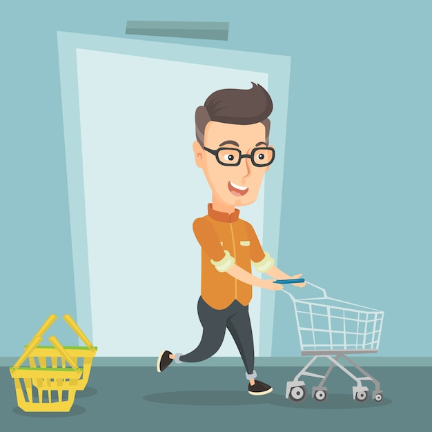 Male customer running into the shop with trolley. Premium Vector