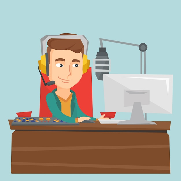 Male dj working on the radio vector illustration Premium Vector