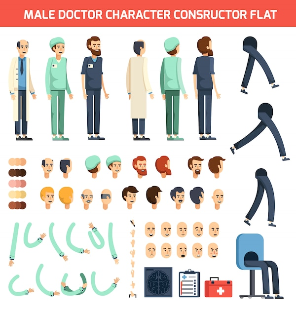 Male doctor character constructor flat Free Vector