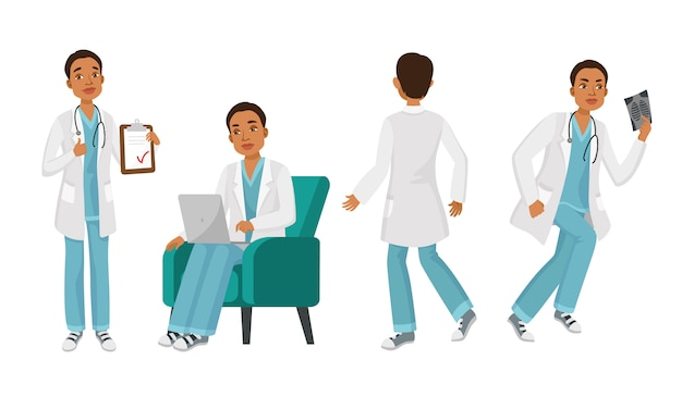 Male doctor character set with different poses, emotions Free Vector
