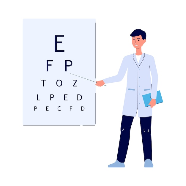 Male doctor showing letters on eye test board - cartoon man in medical uniform standing and smiling in front of snellen chart for vision diagnostic. i   illustration Premium Vector