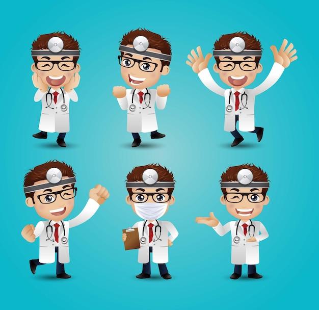 さまざまなポーズの男性医師 Premiumベクター