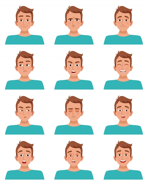 Male facial expressions set Free Vector
