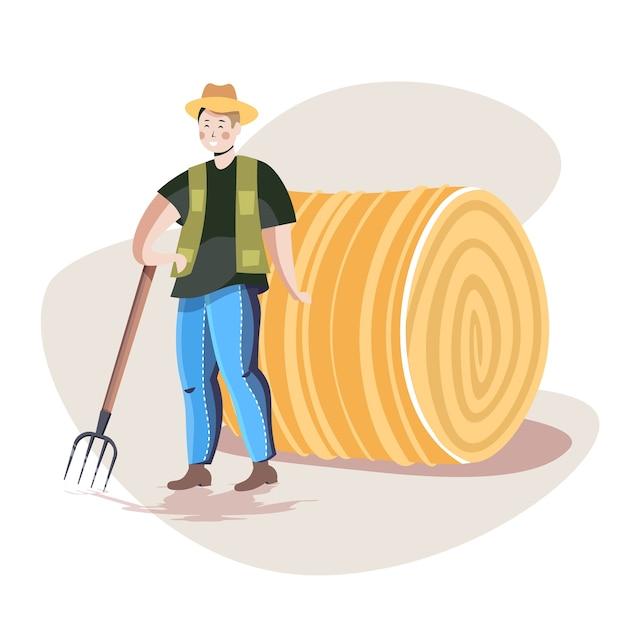 Фермер-мужчина в униформе собирает сено с вилами экологическое сельское хозяйство концепция сельского хозяйства Premium векторы