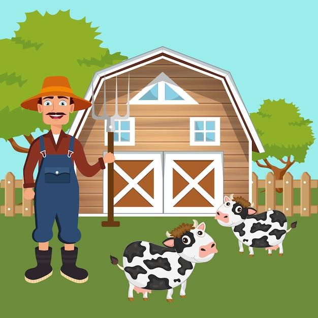 Male farmer standing in farmyard Premium Vector