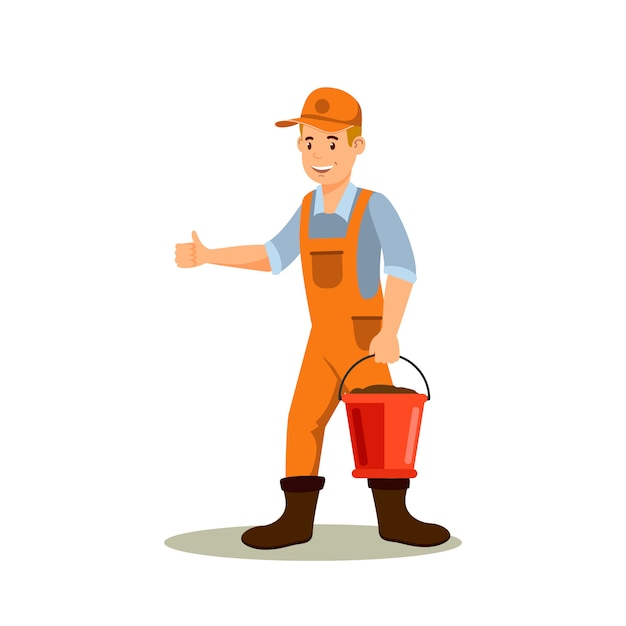 Male farmer with bucket color cartoon character Premium Vector