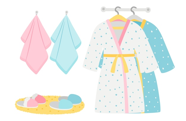 Male and female bathrobes, slippers and towels  elements Premium Vector