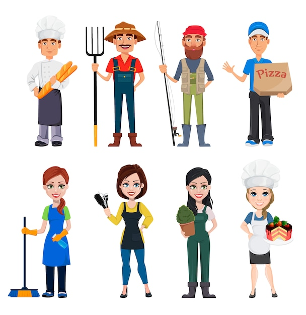 Male and female cartoon characters with various occupations Premium Vector