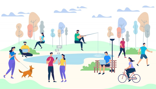 Male and female characters life on park background Premium Vector