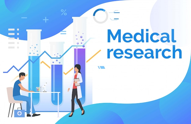 Male and female medics working in laboratory Free Vector