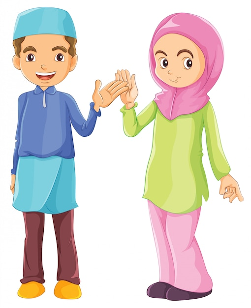 A male and a female muslim Free Vector