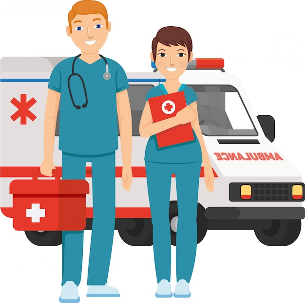 Male and female paramedic ready to help everyone with care Premium Vector