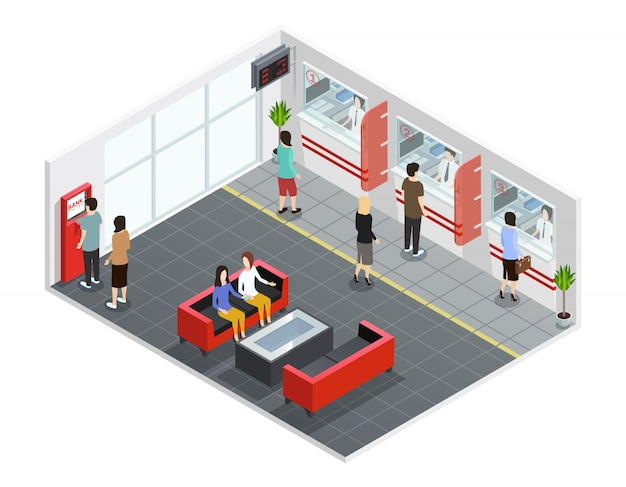 Male and female people in bank office with counters and atm isometric vector illustration Free Vector