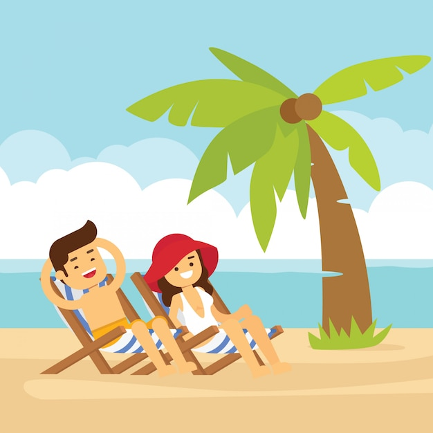 Male And Female Person Have A Rest On The Beach Cartoon