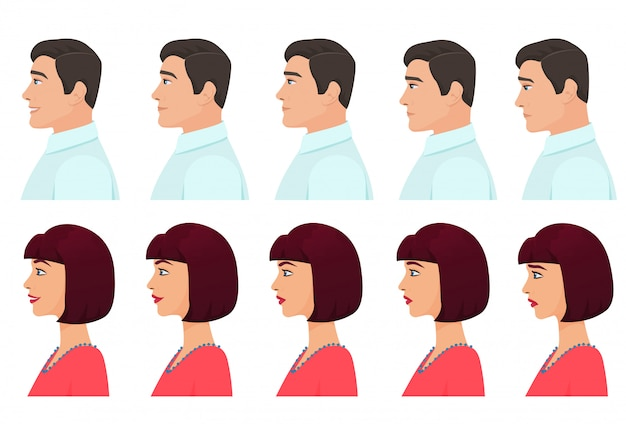Male and female profile expressions Premium Vector