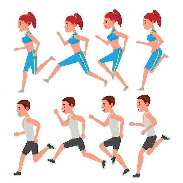 Male and female running Premium Vector