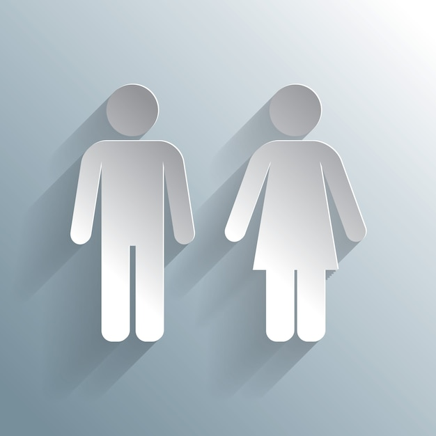 Male female silhouetted figures wc icon Free Vector