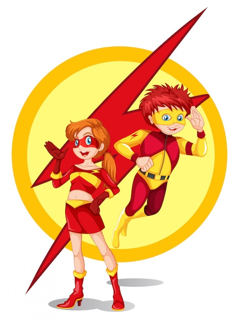 A male and a female superhero Free Vector