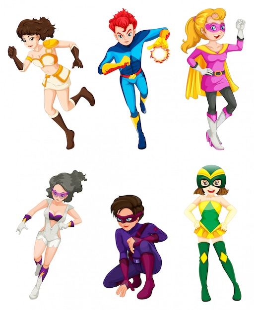 A male and female superheroes Free Vector
