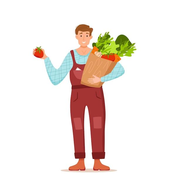 地元の食材を紹介する男性の姿 Premiumベクター