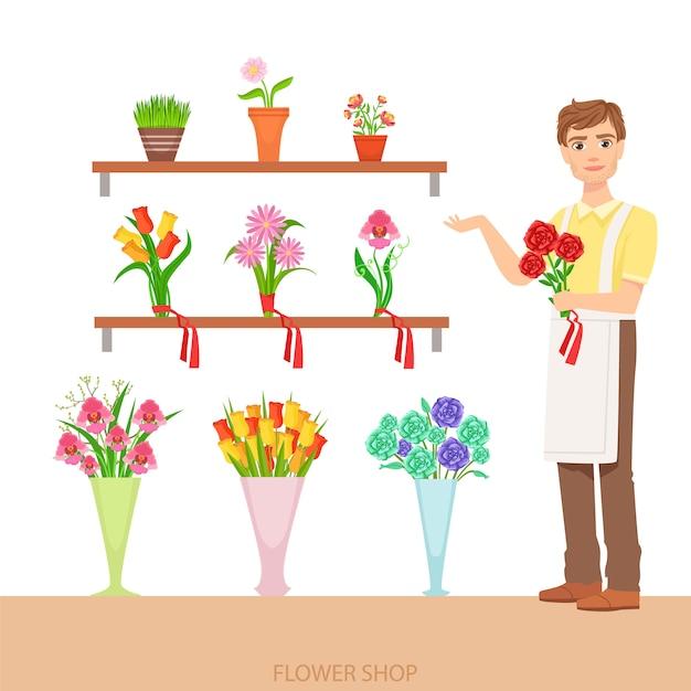 Мужской флорист в цветочном магазине, демонстрирующий ассортимент Premium векторы