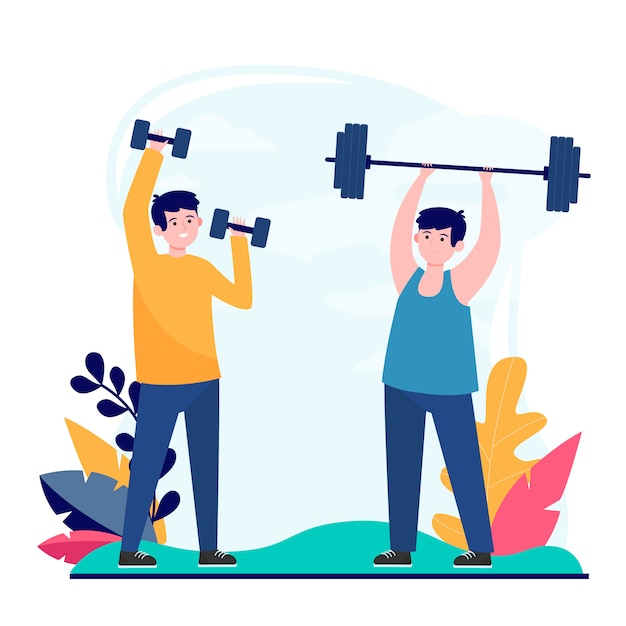 Male friends exercising in gym together Free Vector