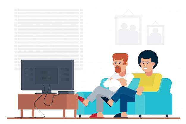 一緒に家で週末を過ごしながらソファーに座ってテレビで映画を見ている男性の友人。 Premiumベクター