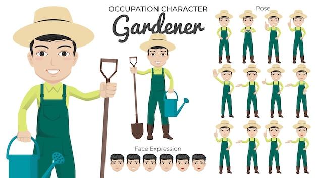 Набор символов мужского садовника с разнообразием позы и выражением лица Premium векторы