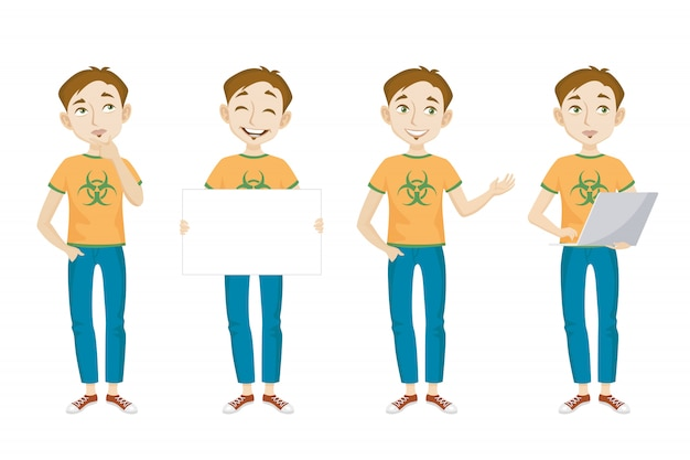Male genius in t-shirt with bio hazard sign character set Free Vector