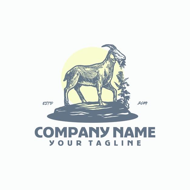 Male goat logo template vector Premium Vector