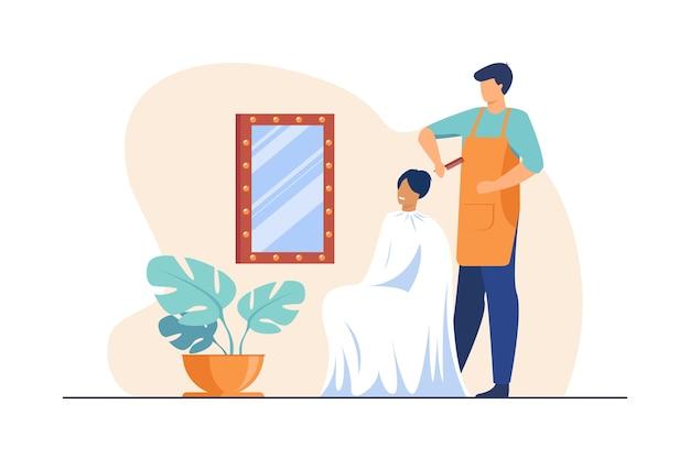 Parrucchiere maschio spazzolatura dei capelli della donna. parrucchiere con pettine, cliente femmina, illustrazione piatta sul posto di lavoro. Vettore gratuito